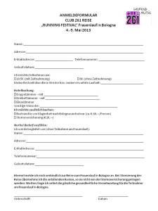 Anmeldeformular Frauenlauf Bologna 2013